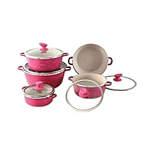 Non-Stick Cooking/Serving Pots - 10 Pieces - Pink