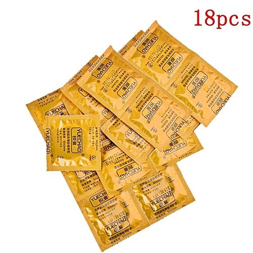 8pcs/lot 20 pcs/lot Condoms Flavor Extra Safe Super-lubrication Latex  Condom for Men Sex Toy Products(18 pcs-yellow square)