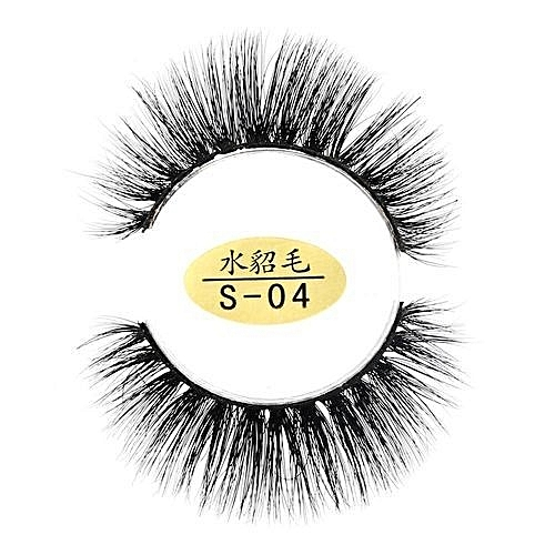 f0aba070dcc QIBEST bluerdream-Natural 3D Eyelashes 100% Faux Mink Hand-made False Lashes  Soft 1 Pair-black