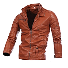 Men Leather Jacket Autumn&Winter Biker Motorcycle Zipper Outwear  Warm Coat- Brown