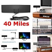Amplified Indoor HDTV Antenna Black For Power UHF VHF FM Digital TV 40 Miles