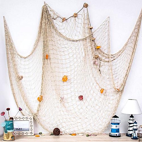 Generic Mediterranean Cotton Shell Fishing Net Decoration White