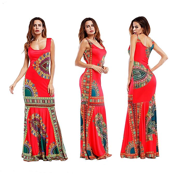 1efade1963 Women's Wear Blockbuster Print Slim Dress Beach Skirt Sleeveless Dress
