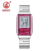 OHSEN 2017 Women's Watches Stainless Steel Digital Women Wristwatches Fashion Ladies Clock Relogio Masculino Sports Watches