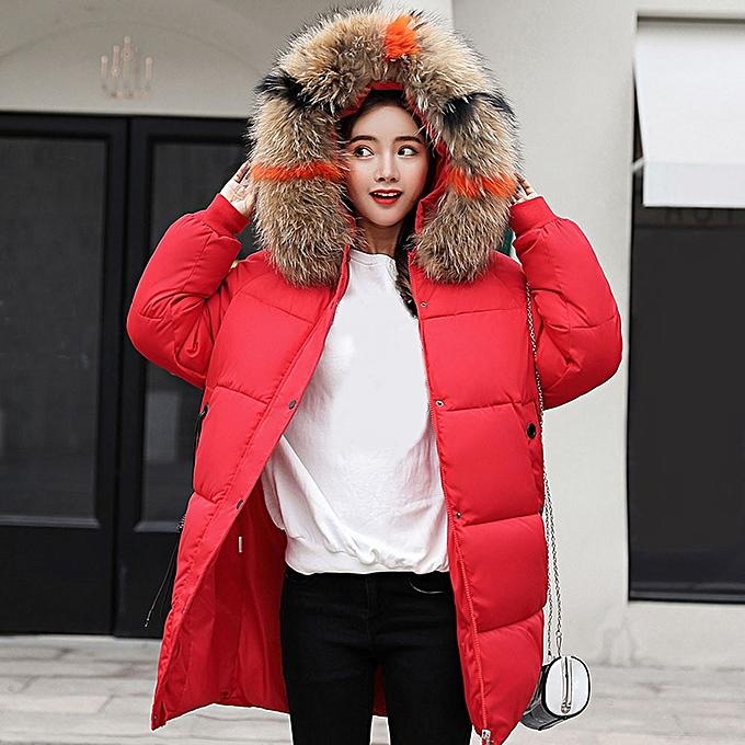 7d9545236 jiuhap store Women Winter Warm Coat Faux Fur Hooded Thick Warm Slim Jacket  Long Overcoat-
