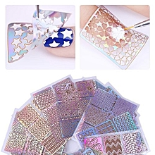 24 Pcs Laser Hollow Stencil Stickers Nail Vinyls Transfer Tips Guide Template Heart Star Fish Design Sticker(Color Random),,,,,,,,