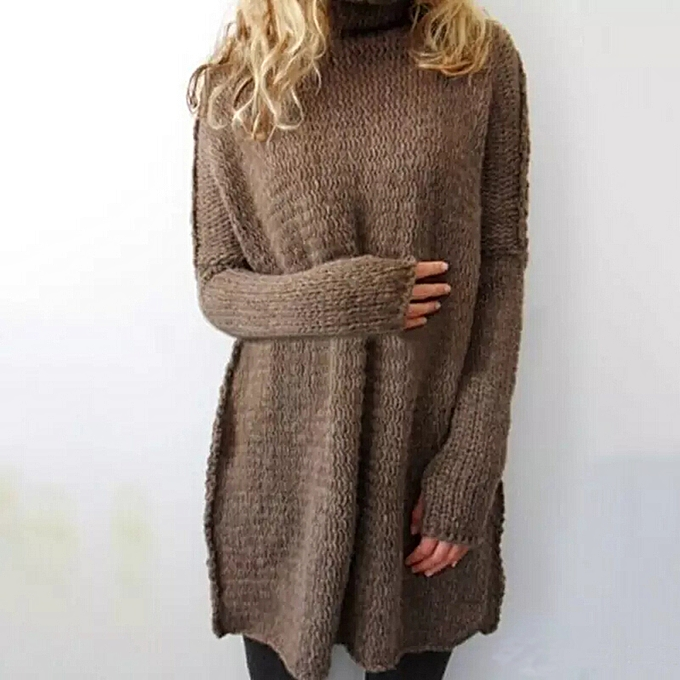 67d36f4b68fa48 Fashion Casual Women Knitted Sweater Turtleneck Drop Shoulder Long Sleeves  Loose Long Pullover Knitwear