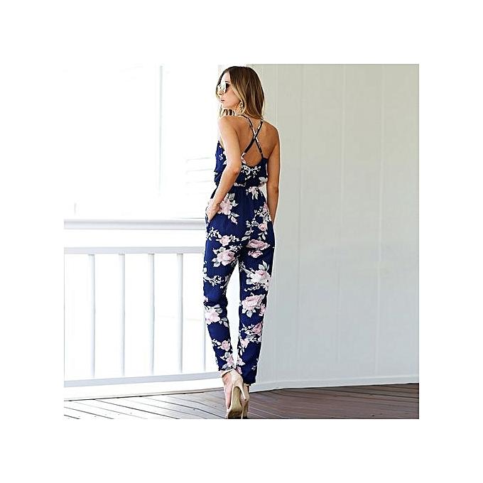 1bc21b35640 ... Hot Sale Summer Beach Boho Floral Print Overalls Backless Sexy Bodysuit  Women Jumpsuit Romper Club Blue