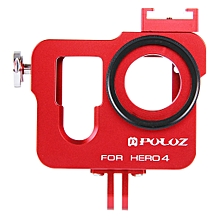 PULUZ PU140 Housing Shell Aluminum Alloy Protective Cage Insurance Frame Lens Cap for GoPro HERO4
