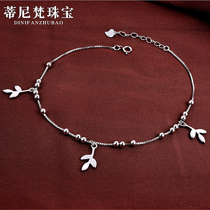 925 silver fetter delightfully fresh little leaf grass Han Ban Nyu the type  fetter silver jewelry article the generation deliver