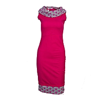 Queen's African Print Neckline Kneeline Frill Stretcher Dress Pink