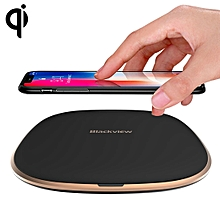 W1  Simple Round Metal 10W Max Qi Wireless Charger Pad, For iPhone, Galaxy, Huawei, Xiaomi, LG, HTC and Other Smart Phones(Black)