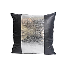 Synthetic Leather with Silver Band Pillow - Large - Black & Silver