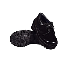 Back to School Leather Black Official School Shoes
