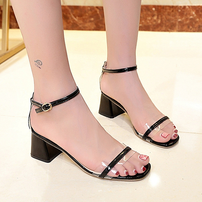 e6925fa953420 wenrenmok STORE Women Open-Toe Thick Heel Sandals Fashion Wild Buckle Mid- Heeled Sandals