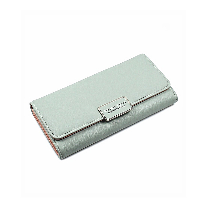 34afc8a9f84 Women's Wallet Long Large Capacity Multi-Slot Wallet Buckle Lingge Tri-Fold  Ladies Hand Wallet-Green