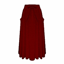 22e93ae195 Celmia Women Casual Gypsy Long Skirts Cotton Vintage Maxi Skirts Wine Red