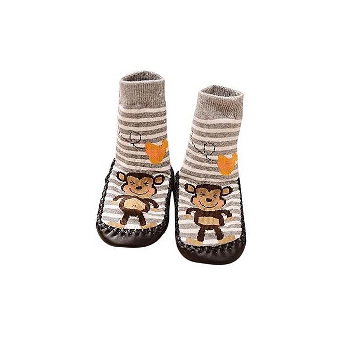 c918e28524b44 Braveayong Cartoon Kids Toddler Baby Anti-slip Sock Shoes Boots Slipper  Socks GY/13 -Gray
