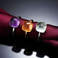 Square 5.5ct Natural Amethyst/Citrine 925 Silver Lucky Adjustable Ring Color Yellow