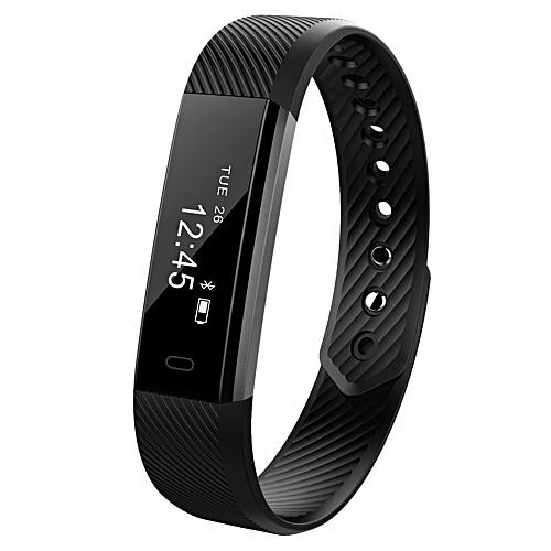ID115 Smart Bracelet Fitness Tracker Pedometer Watch - Black