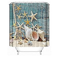 Sea Shell Shower Curtain Waterproof Bathroom Beach Curtain Decor With 12Hooks