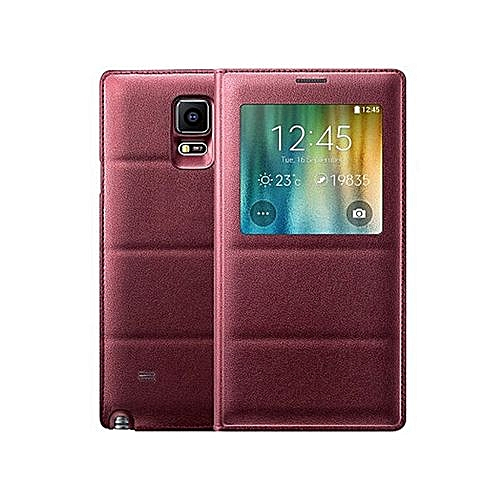 san francisco 68424 4507a Smart View Auto Sleep Wake Shell With Chip Battery Bag Leather Case Flip  Cover For Samsung Galaxy Note 4 N9100 (Red)