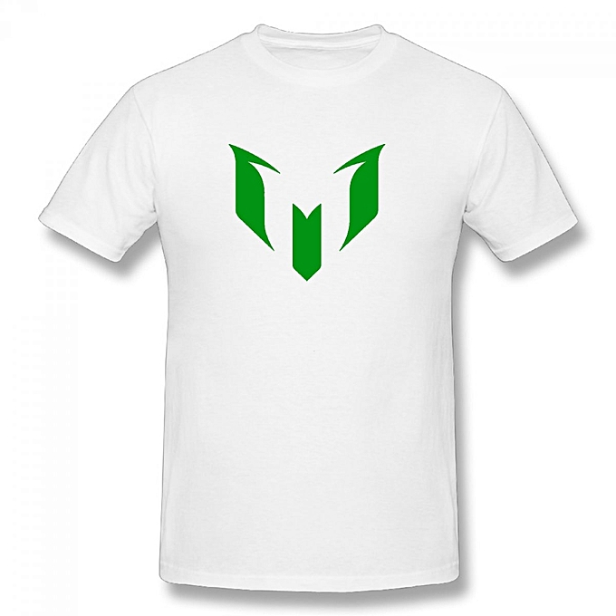 8a5abf0e1b0 Generic Lionel Messi FC Barcelona Logo Men s Cotton Short Sleeve Print T- shirt White