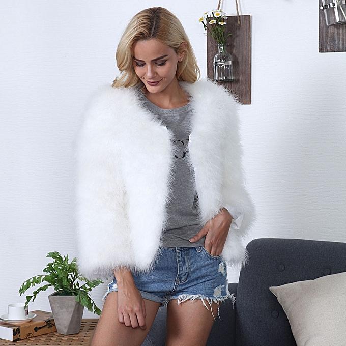 3e15ec3e65f jiuhap store Women Faux Fur Ostrich Feather Soft Fur Coat Jacket Fluffy  Winter Xmax - white