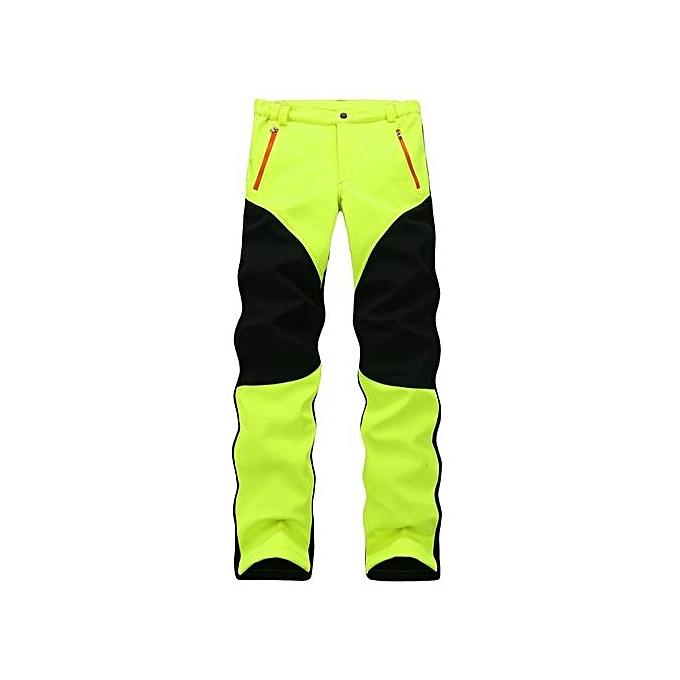 Mens Outdoor Sport Pants Elastic Soft Shell Warm Fleece Lined Vivid Color Waterproof Trouser Green