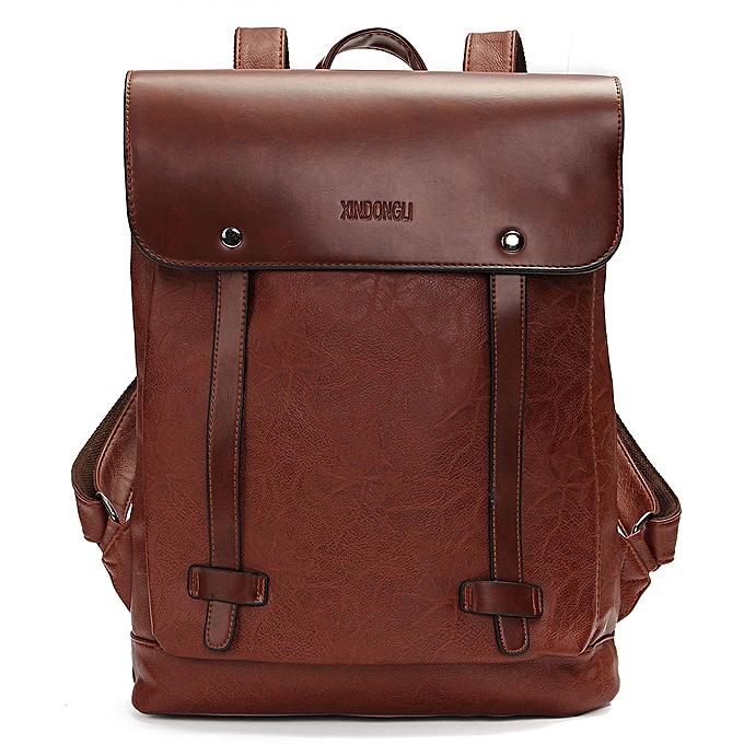 6aa205b1cf97f Vintage Men Women Leather Backpack Messenger Bag Satchel Laptop Travel  Rucksack Dark Brown