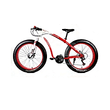 "26"" 21 Speed White Red Fat Tire Mountain Bike"