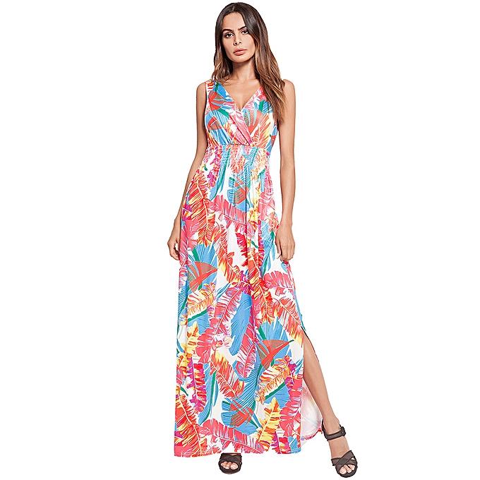d5764c7f3 Summer Women Dress Beach Sleeveless V-Neck Slit Printed Long Maxi Dress For  Women Red
