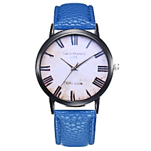 Watch Women's Fashion Casual PU Leather Strap Analog Quartz Round Watch-Blue