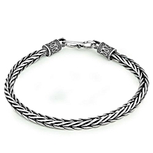 Vintage Personality Knot Thai Silver Solid 925 Sterling Silver Bracelet Men Size Length: 18cm, Weight: 13g