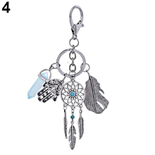 Vintage Feather Tassels Dream Catcher Key Chain (Light Blue)