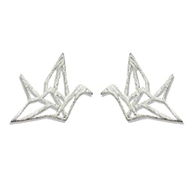 Fashionable Simple Thousands Papper Crane 925 Sterling Silver Stud Earrings Color Yellow