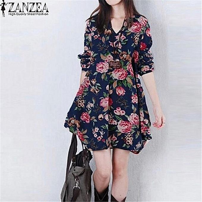 5da47b83f0 ZANZEA Trendy Autumn Linen Dress Women Vintage Flower Dress V Neck Long  Sleeve Casual Cute Mini