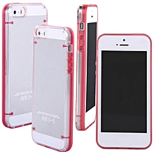 Ultra Thin Transparent Crystal Clear Hard TPU Case Cover For iPhone 5 / 5S-Rose Red