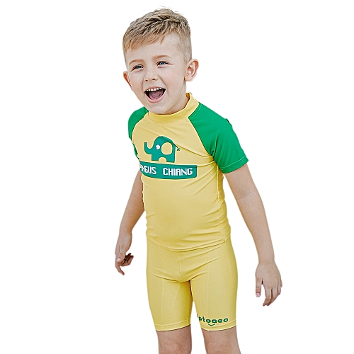 3d0a0b7cfd3 Generic Boy Two-Piece Swimsuit + Cap Set UPF50+ Sun Protection Quick Dry Rash  Guards Swimwear Beach Pool For Kids Toddler Elephant Pattern 100cm