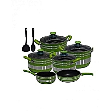13 Piece Non Stick Cookware set of  Cooking Pots,Pans & Spoons-Green & Silver