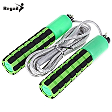219 Portable Spong Wire Rope Skipping With Counter - Green
