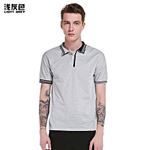 Hot Men's Leisure T-shirt Short Sleeved T-shirts Turn-down Collar  Solid Color Stripe Splicing Slim