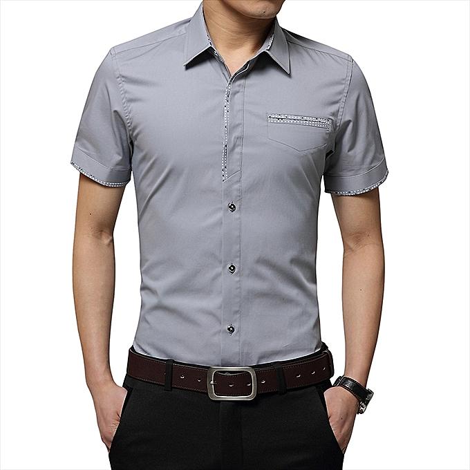 f89d1e6a6 Fashion Men's Slim Short Sleeve Shirt Business Formal Casual Pure Top T  Shirts-Grey