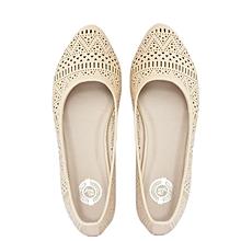 Beige Flat Ladies Shoes