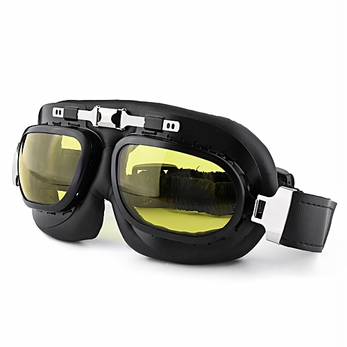 7c8f0ee28cfd Generic Windproof Motorcycle Riding Goggles Retro PC Lens Motorbike Ski  Bike Glasses Motocross Classic Goggles For Harley Cafe Racer Yellow
