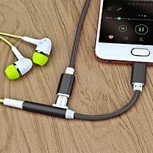 Type-C 3.5mm Aluminum Alloy + Nylon Audio Adapter, Length: 12cm, For Letv / Xiaomi (Black)