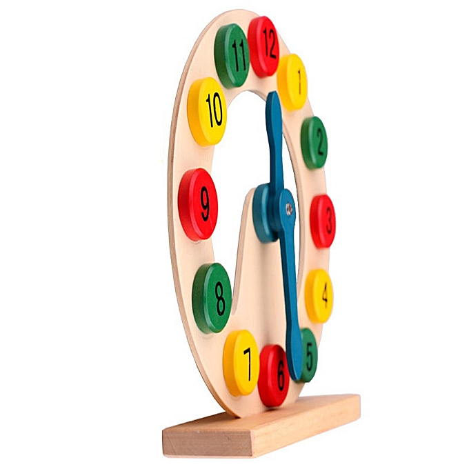 Braveayong Geometric Shape Creative Toys Hollow Clock Colorful Wooden Toy  Educational Toy -As Shown