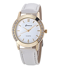 Henoesty Geneva Fashion Women Diamond Analog Leather Quartz Wrist Watch Watches  White