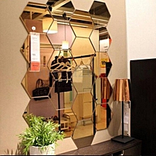 12Pcs 3D Mirror Hexagon Vinyl Removable Wall Sticker Art DIY Decal Home Decor
