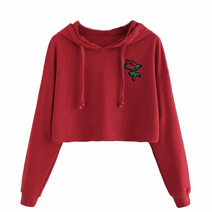 9cbd20005de9c7 Women Hoodie Sweatshirt Jumper Sweater Crop Top Embroidery Pullover Tops